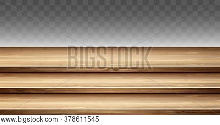 Step Wooden Table Top, 3-tier Display Stand. Vector Realistic Mockup Of Empty Wood Shelves For Showc