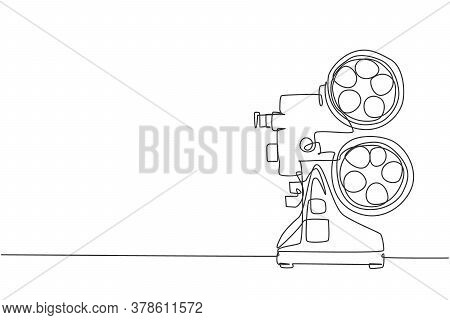 Single Continuous Line Drawing Of Retro Old Classic Video Player. Vintage Analog Movie Projector Ite