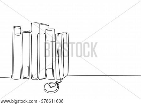 One Single Line Drawing Stack Of Retro Old Classic Books Line With Pocket Analog Watch Hanging. Vint