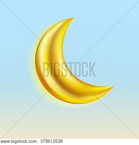 Gold Crescent Realistic Icon Set Isolated On White Background. Vector.