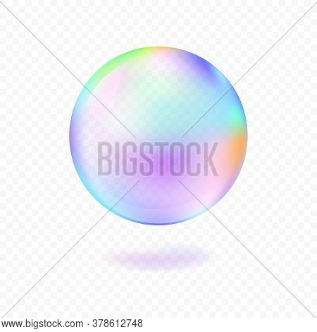 Realistic Soap Bubble Isolated On Transparent Background. Vector Illustration.