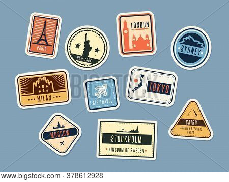Travel Badges Set. Vintage Stickers With City Names And Sights. Vector Illustration For Summer Vacat