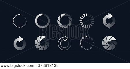 Loading Symbols Set. Buffering Upload And Download Progress Signs. Vector Illustrations Of Circles,