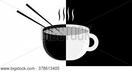 Cup With A Drink And Chopsticks On A Black And White Table, Vector Image Of Ceramic Stylish Tablewar