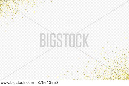 Golden Sequin Paper Transparent Background. Rich Triangle Texture. Gold Shard Happy Background. Shar