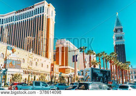 Main Street Of Las Vegas Is The Strip. Casino, Hotel And Resort Venetian.