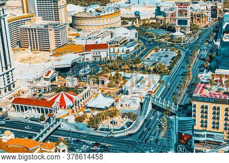 Main Street Of Las Vegas - Is The Strip. View From Above.