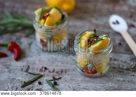 Fermented Lemons In Jars. Salty Pickled Lemon. Probiotics And Fermented Foods. Selective Focus. Macr