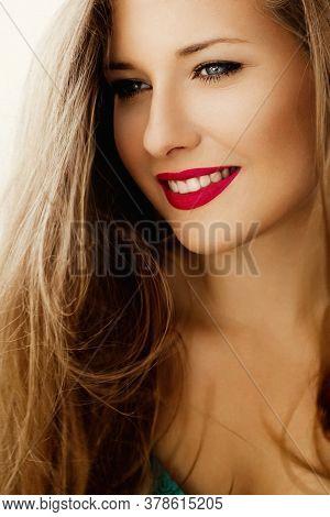 Charming Woman Smiling, Brunette With Long Light Brown Hair, Girl Wearing Natural Makeup Look, Femal