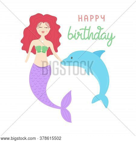 Cute Mermaid Vector Illustration, Birthday Greeting Card. Red Hair Mermaid Girl, Princess With Purpl