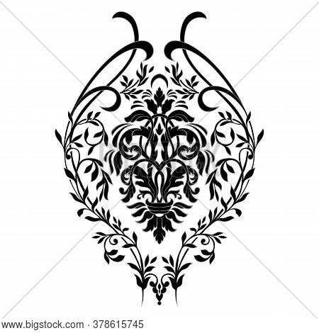 Vector Damask Element. Isolated Damask Central Illistration. Classical Luxury Old Fashioned Damask O