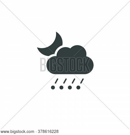 Rain And Hail, Cloud And Moon. Isolated Icon. Night Weather Glyph Vector Illustration