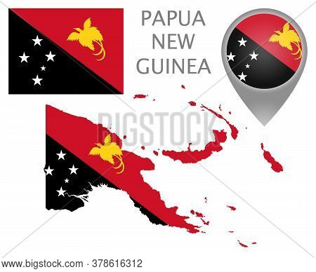 Colorful Flag, Map Pointer And Map Of Papua New Guinea In The Colors Of The Papua New Guinea Flag. H