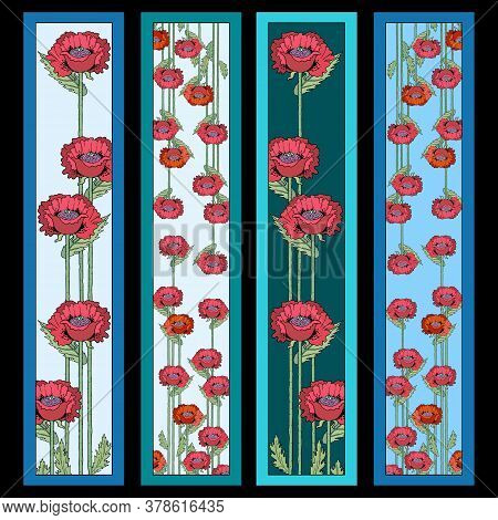 Set Of Four Poppies Flowers Bookmarks. Abstract Backgrounds