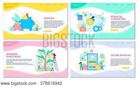 Four Web Templates For Banking Concepts Including Savings, Financial Consulting, Business Investment