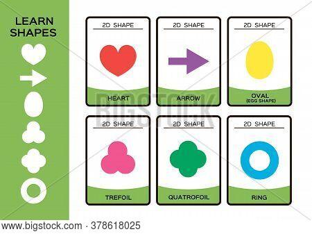 2d Geometric Shapes. Basic Geometrical Shapes For Children. 6 Flashcards. Learning Shapes Educationa