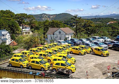 Vietnam, Da Lat, November, 2016 - Open Area For The Sale Of Yellow Cars In Da Lat, Vietnam