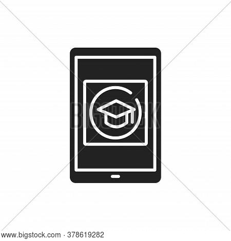 E-learning App In Tablet Black Glyph Icon. Online Education Website Concept. Study Program, Courses