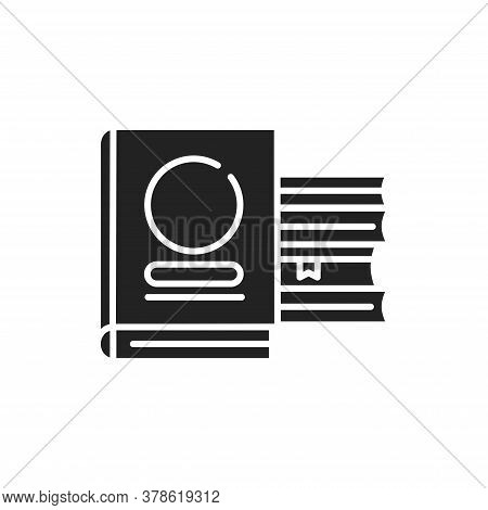 Books Black Glyph Icon. Library Concept. School Textbooks With Bookmarks. Education. School Supplies