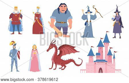 Set Of Eight Characters For Fairy Tales With King, Queen, Ogre, Wizard, Dragon, Knight, Maiden And C