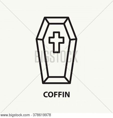 Coffin Flat Line Icon. Simple Thin Outline Funeral Symbol. Vector Illustration.
