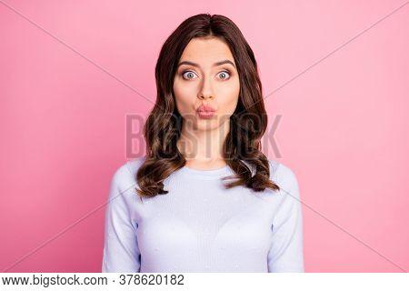 Closeup Photo Of Attractive Pretty Lady Wavy Hairdo Sending Air Kisses Handsome Guy Flirty Shy Mood