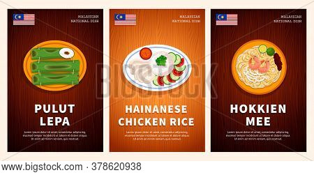 Malaysian Cuisine, Traditional Food, National Dishes On A Wooden Table. Pulut Lepa, Hainanese Chicke