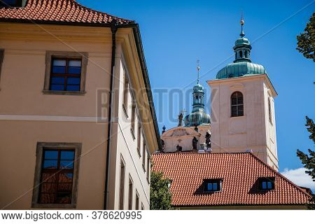 The Tower And Spiers Of The Church Of St. James The Greater, View From Ungelt (týn Yard), Old Town,