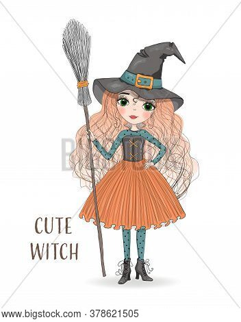 Cute Cartoon Witch In Orange Skirt And Hat With A Broom In Hand. Hand Drawn Beautiful Little Hallowe