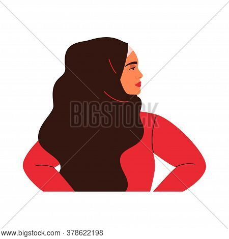 Young Arabian Woman Is Standing In Profile. Muslim Girl Is Wearing Black Hijab. Vector Illustration