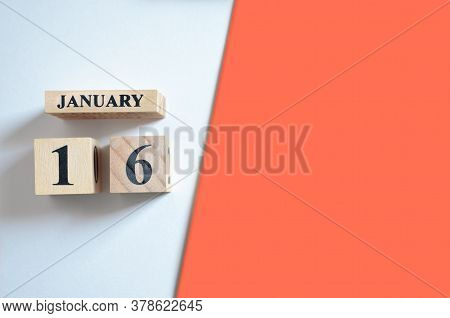 January 16, Empty White - Red Background With Number Cube.
