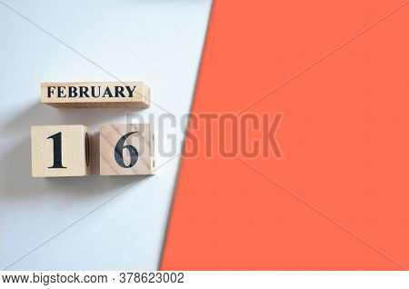 February 16, Empty White - Red Background With Number Cube.
