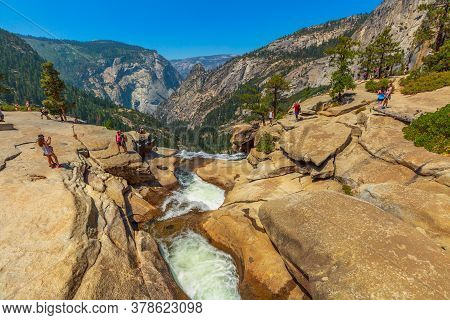 Yosemite, California, United States - July 24, 2019: Top View Of Nevada Fall Waterfall On Merced Riv