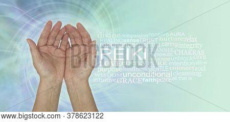 Gentle Healing Hands Reiki Word Cloud - Open Palm Hands Beside A Reiki Word Cloud Against A Blue Gre
