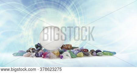 Magical Healing Crystal Vortex Background - A Large Clear Crystal Ball Atop A Selection Of Healing C