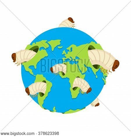 Planet Earth And Giant Worms. Destruction Of Earth. Vector Illustration