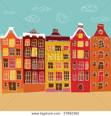 vector illustration, the old town, retro style