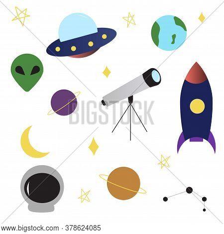Space Ufo Objects Set Rocket, Alien, Planets, Earth, Telescope, Constellation, Stars, Moon Spaceship
