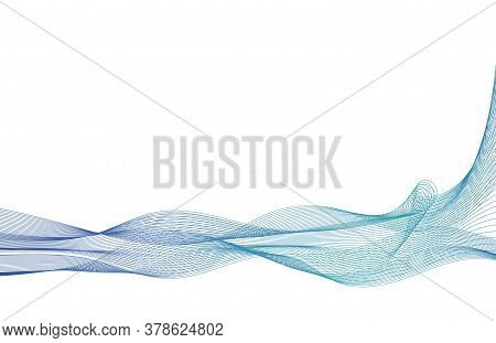 Wave With Shadow.abstract Blue Lines On A White Background. Line Art. Vector Illustration. Colorful