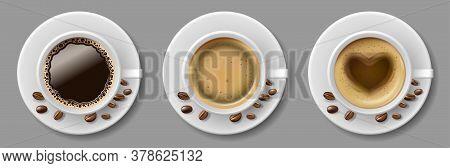 Set Of Coffee Mug Top View With Coffee Beans. Cappuccino Espresso, Latte, Mocha, Americano In Realis