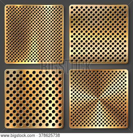 Realistic Perforated Brushed Metal Textures Set. Polished Stainless Steel Background. Vector Illustr