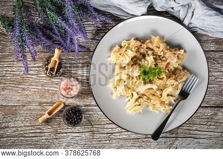 Pasta With Sauerkraut And Bacon. Selective Focus.