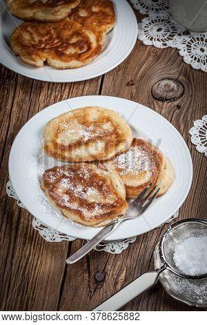 Polish Pancakes With Powdered Sugar. Selective Focus.