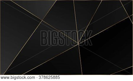 Black Luxury Polygon Pattern. Silver Rich Vip Geometric Celebration Background. Elegant Dark Platinu
