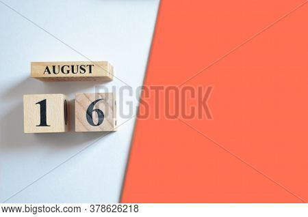 August 16, Empty White - Red Background With Number Cube.