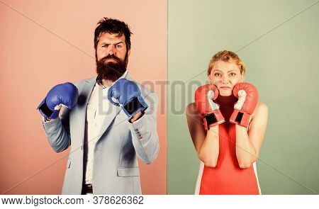 Ready To Fight. Problems In Relationship. Sport. Family Couple Boxing Gloves. Bearded Man Hipster Fi