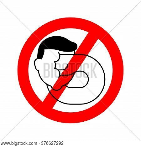 Stop Self-punishment. No Beat Yourself. Ban Punch Yourself In Face. Red Prohibition Road Sign Vector