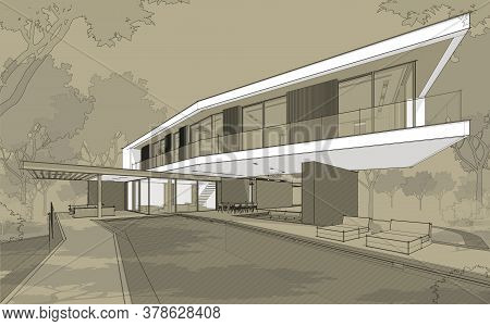 3D Rendering Of Modern House On The Hill With Pool Black Line On Craft Background