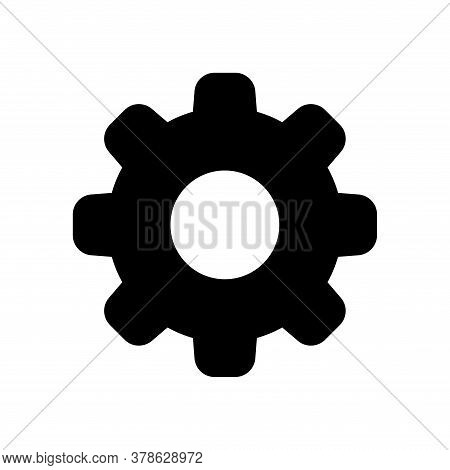 Circle Cog Black For Mechanization Icon Isolated On White, Gear Symbol For Icon For Progress Web, Si