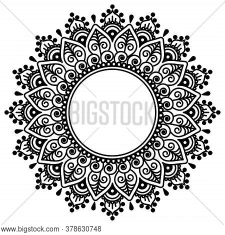 Mehndi Indian Henna Tatoo Vector Mandala Design - Traditional Geometric Pattern Popular In India And